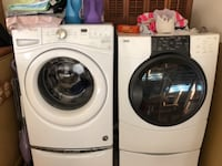 white front-load clothes washer and dryer set null