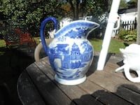 blue and white ceramic pitcher ANNAPOLIS