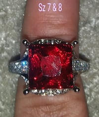Large Red Ruby Ring. Sterling silver band.Sz 7 n 8 Glen Burnie