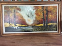 Large framed original oil painting Waterfall View 科奎特兰