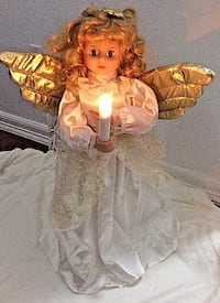 """NOW $40***19"""" Vintage ANIMATED Angel & LIGHTED Candle * IF AD'S UP, IT'S STILL AVAILABLE Hamilton"""