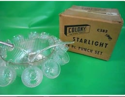 1965 14 PC COLONY GLASS STARLIGHT PUNCH BOWL