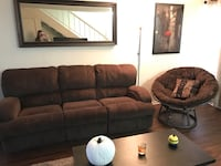 Brown couch with brown moon chair