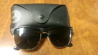black Ray-Ban clubmaster sunglasses with case