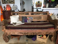 brown wooden framed brown padded couch Boca Raton, 33431