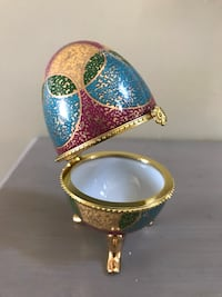 Gold painted decorative egg opens Buzzards Bay, 02532
