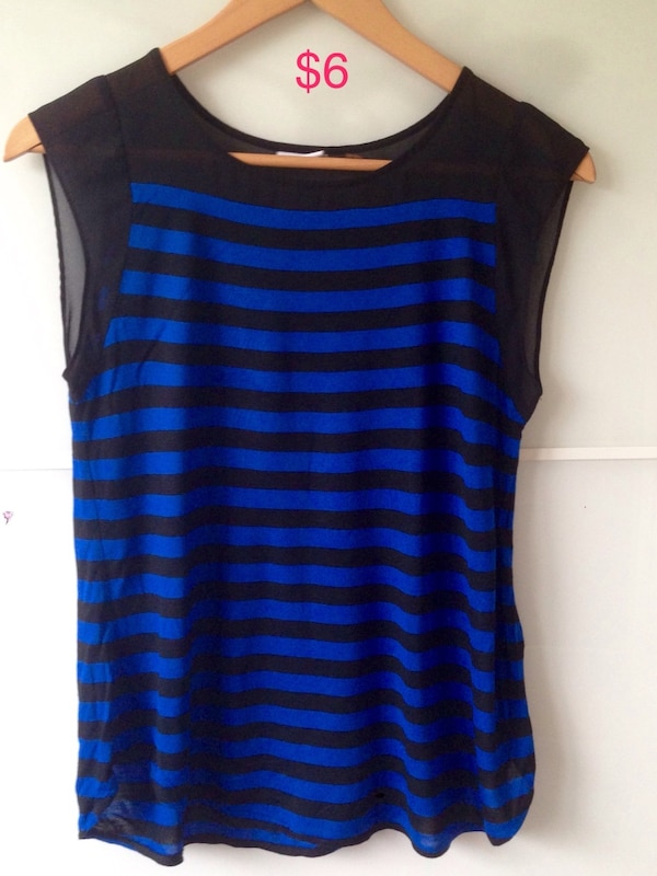 blue and black stripe tank top