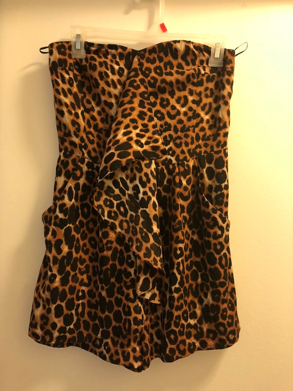 brown and black leopard print sleeveless dress