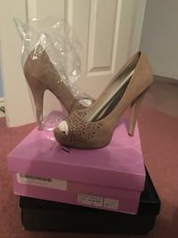 Brown studded peep toe platform stilettos REDUCED  Kenner, 70065