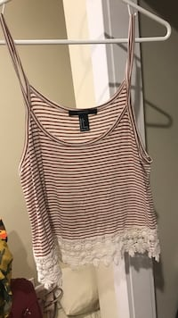 women's white and black striped tank top Regina, S4S 4B5