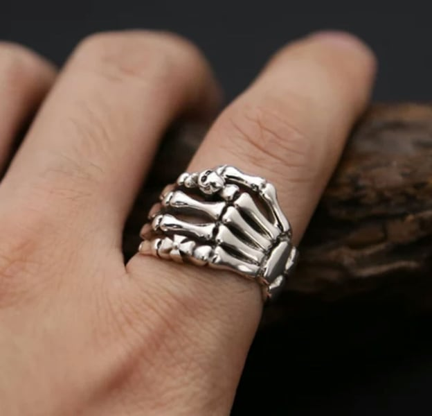 (Shipped Only) Real 925 Sterling Silver Cross Skull Ghost Claws Ring 1c56e409-f331-4873-840d-df93449a1162