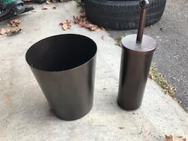 Garbage Can And Toilet Brush