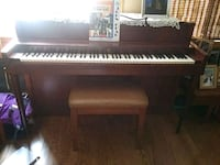 brown wooden upright piano with chair Altamont, 12009
