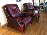 Solid wood love seat and chair for sale