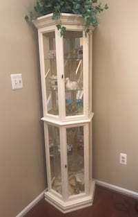 white wooden framed glass display cabinet 54 km