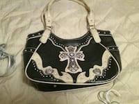 white and black leather cross studded shoulder bag Lufkin, 75901