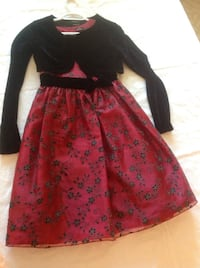 Red and black floral sleeveless dress with jacket. 549 km