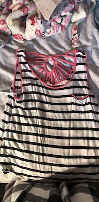 black and white stripe scoop neck shirt Falls Church, 22041