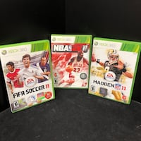 Fifa Soccer 11, NBA 2K11, and Madden NFL 11 XBOX 360 Video Games