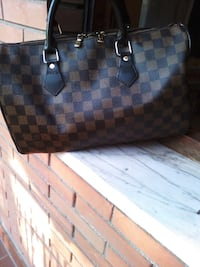 tote bag in pelle marrone e nera Roma, 00172