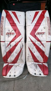 goalie pads. Adult. seen some rubber but all leather, straps, etc AOK Mississauga, L4W 1L7