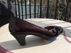 "Dark Red Patent Leather 2"" Heels - size 8.5"