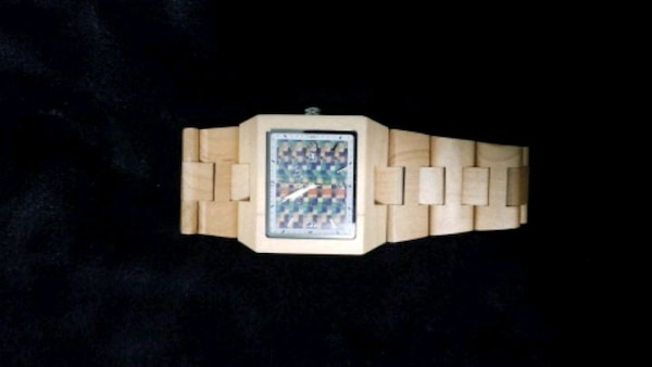 Wood watch with colored face