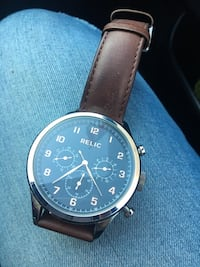Round black chronograph watch with brown leather strap Elizabeth, 07201