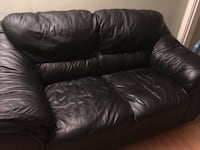 Black leather 3-seat sofa and love seat . Pick up only . Burnaby, V3N 3K4