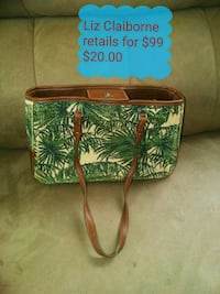 green and white floral leather crossbody bag North Canton, 44720
