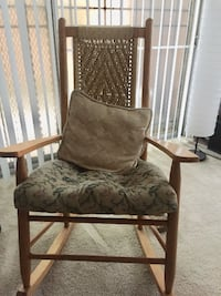 brown wooden framed gray padded armchair Washington