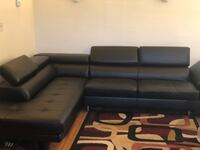 black leather tufted sectional sofa Baltimore, 21201