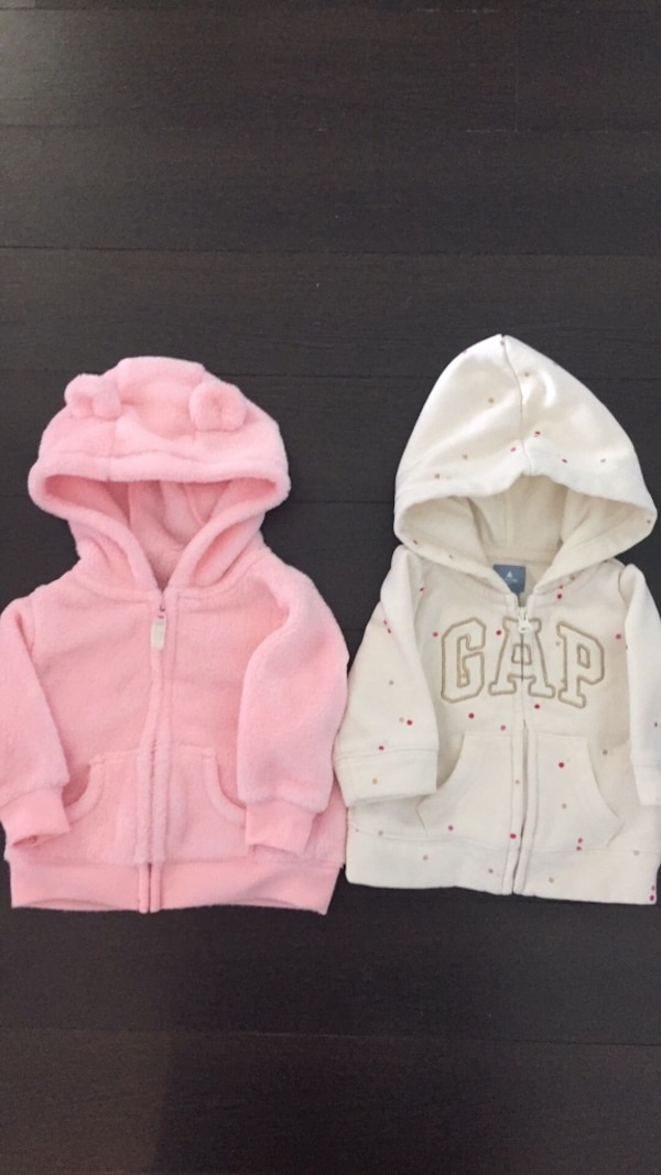 1cfeeb580aba Used Baby girls hooded sweaters. Left Carter s 3 month