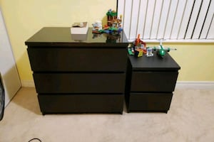 Dresser and  night table malm espresso