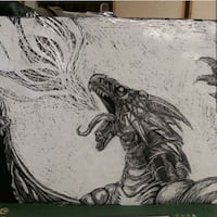 Scratchboard drawing of a dragon spitting fire Los Angeles