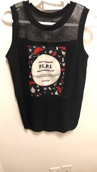 Sleeveless black women chiffon shirt size S