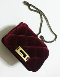 (NEW) Velour Maroon Suede Cross-Stitched Bag Toronto