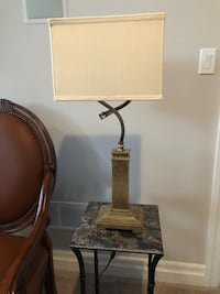 "Table lamp stone and brass. 27"" London, N6G"