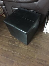 Black leather padded ottoman chair Calgary, T3P