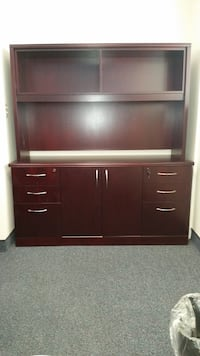 Brown wooden cabinet, desk, and desk chair  Long Beach, 90803