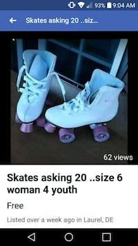 20 . fairly new skates...6 in woman 4 in youth Laurel, 19956