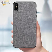 KISSCASE Cloth Texture Phone Case For iPhone 6S 7 8 X XS Max XR Soft PU Leather Phone Cases For iPhone 6 6S 7 8 Plus X XS Max XR  COLOR AVAILABLE: -Green  -Gray -Black Laurel, 20723