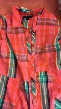 pink, green, and black plaid button-up collared shirt 323 mi