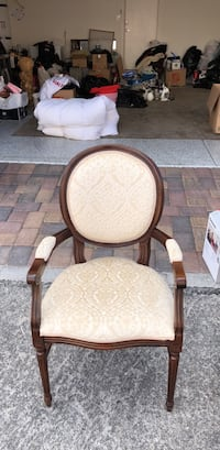 brown wooden framed white padded armchair Las Vegas, 89178