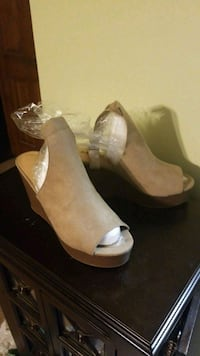 pair of beige peep-toe wedges Pleasant Grove, 35127