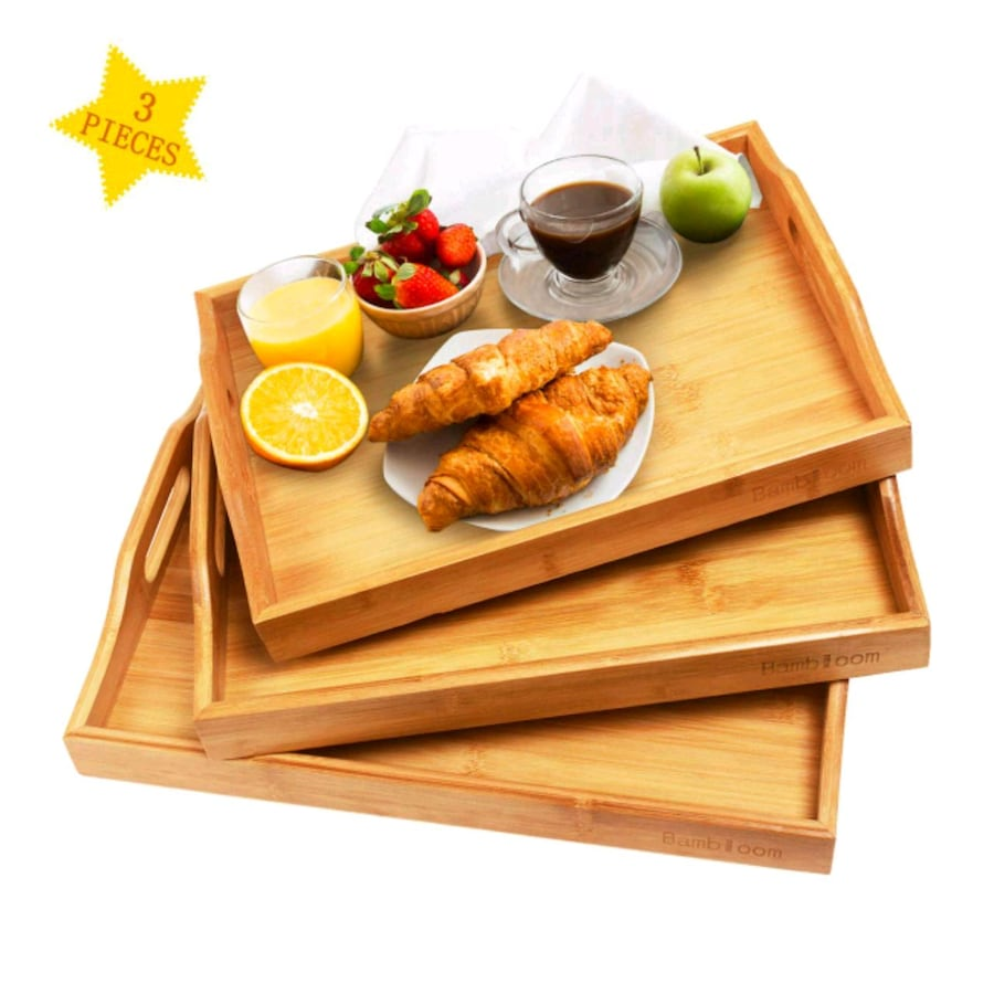 Bambloom Serving Tray with Handles - Set Of 3