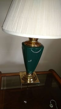 white and green table lamp shade with green base East Berlin, 17316