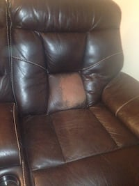 Couch and Loveseat. 2 years old. Bonded leather. Some cracking and peeling. Recliners on both ends of couch and Loveseat all work perfect.  Cheektowaga, 14225