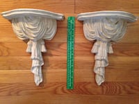 Unique Pair of Faux Draped Fabric and Tassels Resin Wall Brackets Norfolk, 23507