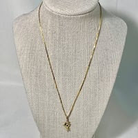 14k Yellow Gold Italian Box Chain with 14k Mama & Baby Dolphin Pendant Sterling, 20165